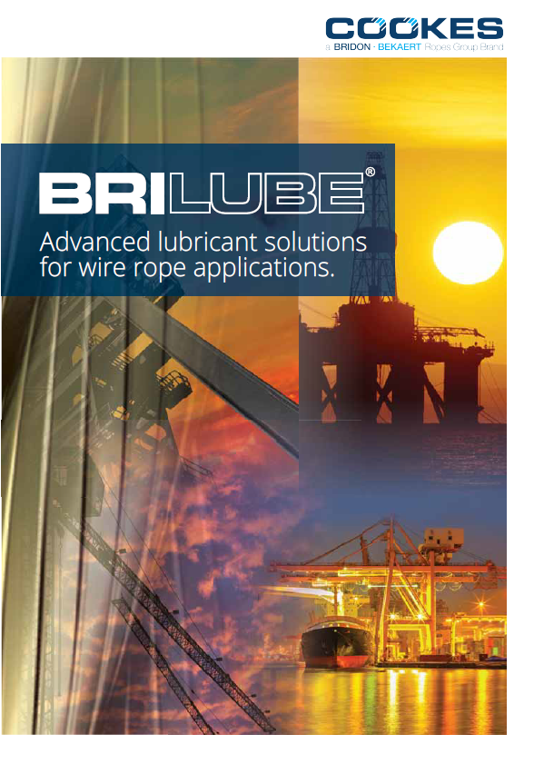 BriLube Brochure cover - collage of oil and gas, ship to shore cranes and underground mining images.