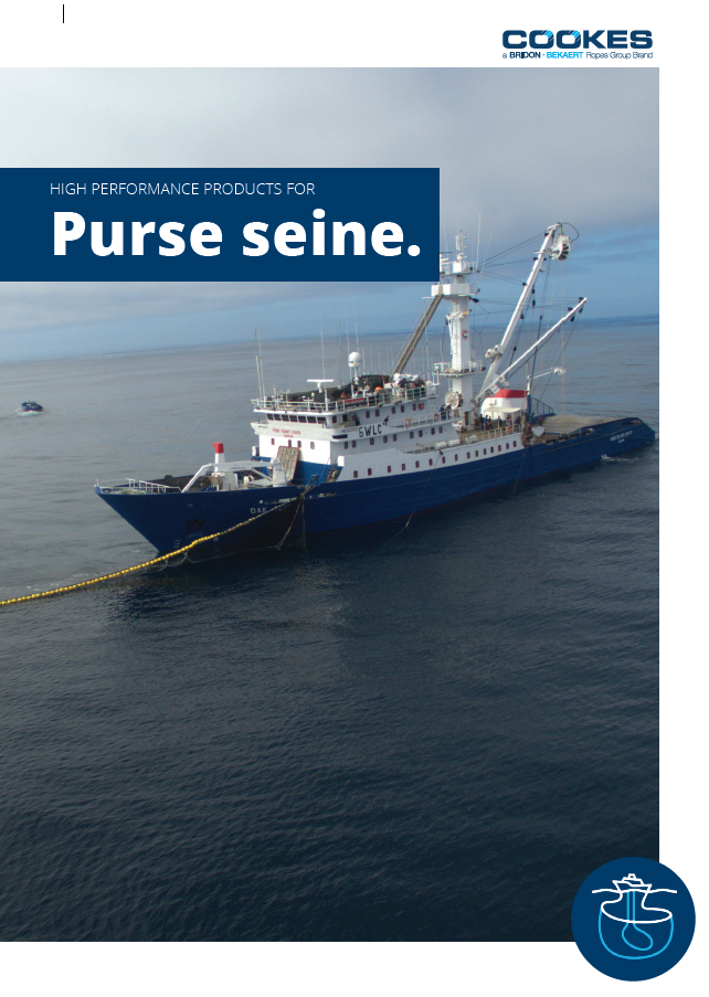 Cookes Purse Seine fishing brochure - featuring a purse seine vessel working.