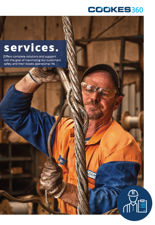 Services brochure featuring Cookes employee splicing wire rope.