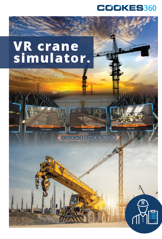VR Training simulation brochure cover featuring mobile and tower crane images with overlaid VR graphics from the ITI software.